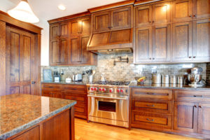 Beautiful dark wood kitchen cabinets